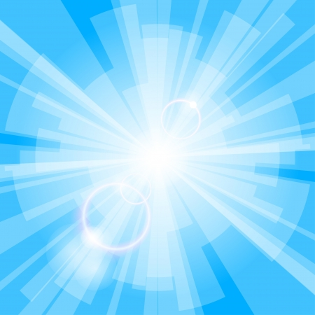 Abstract blue light background with rays Vector