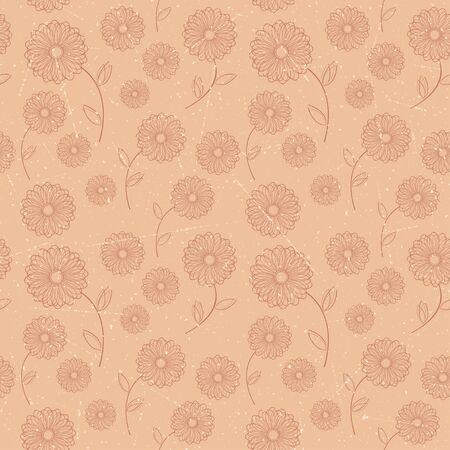 Seamless pattern of brown vintage flowers  Vector