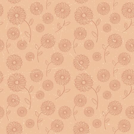 Seamless pattern of brown vintage flowers  Vector