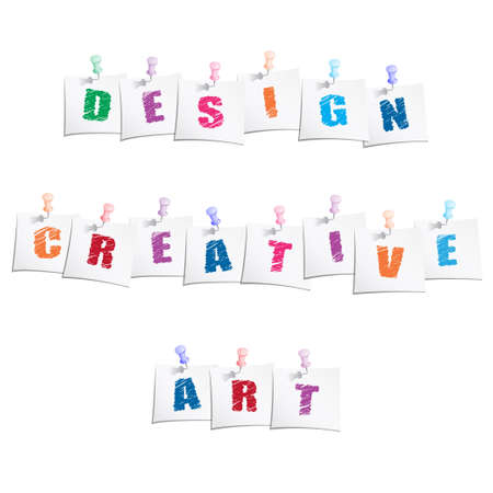 Creative slogans on paper note with push pin Vector