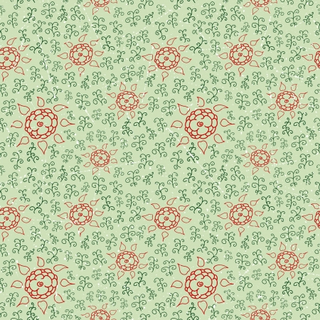 Seamless pattern of retro ornament with flowers  Vector illustration Vector