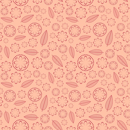 Seamless texture of flowers and leafs  Vector illustration