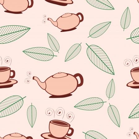 Beige cartoon tea seamless pattern  Vector illustration  Vector