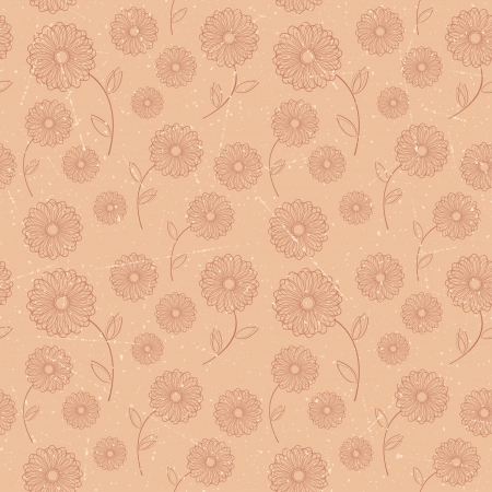 Seamless pattern of brown vintage flowers  Vector illustration  Vector