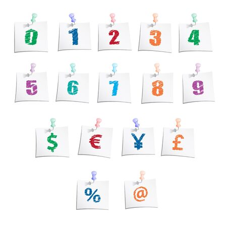 Hands draw numbers and symbols on paper note with push pin  Vector eps10 illustration Illustration
