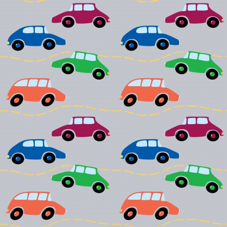 Seamless pattern of cartoon cars  Vector illustration  Vector
