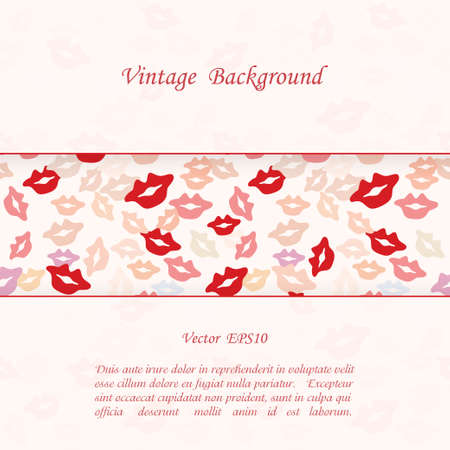 Romantic background with lips prints Vector