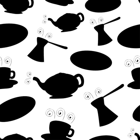 Black coffee seamless pattern  Vector