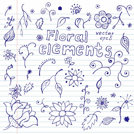 Hands drawn sketchy notebook doodles of floral elements