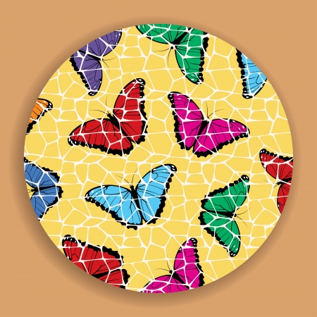 Mosaic picture of color butterflies  Vector illustration Vector