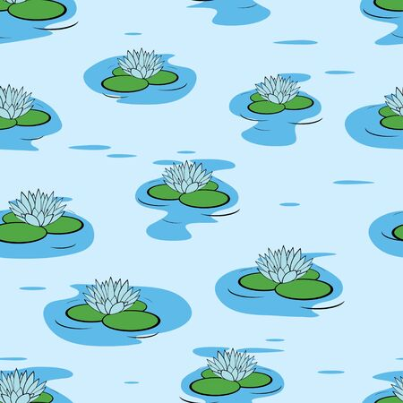 Seamless pattern of water lily flowers  Vector illustration  Vector