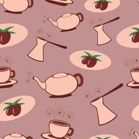 Cartoon coffee and tea seamless pattern  Vector illustration  Stock Vector - 14398424