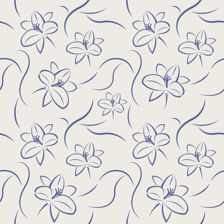 Seamless pattern of blue flowers  Vector illustration  Vector