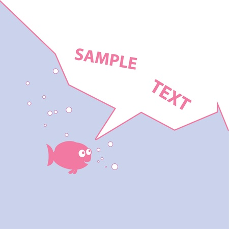Vector illustration of pink cartoon fish for your design Vector