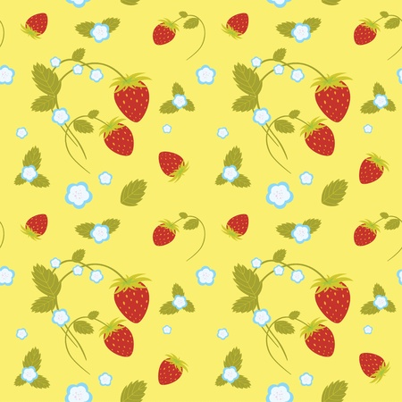 Seamless pattern of strawberries and flowers   Vector