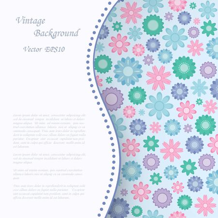Vintage background with abstract flowers   Vector