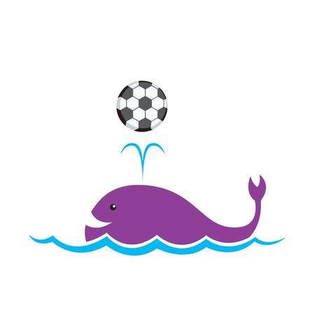 Cartoon whale is playing a ball   Vector