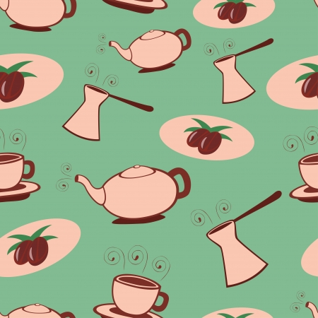 Green retro coffee seamless pattern  Vector
