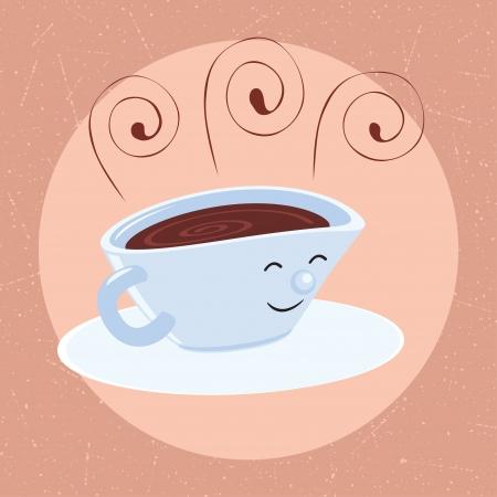 Retro cartoon coffee cup symbol Stock Vector - 14459185