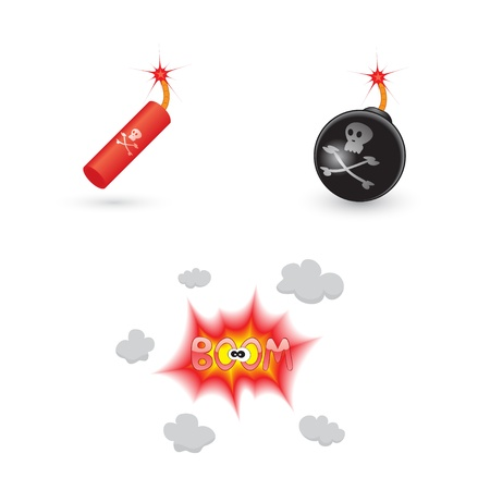 set of bombs and explosion icons Stock Vector - 14459166