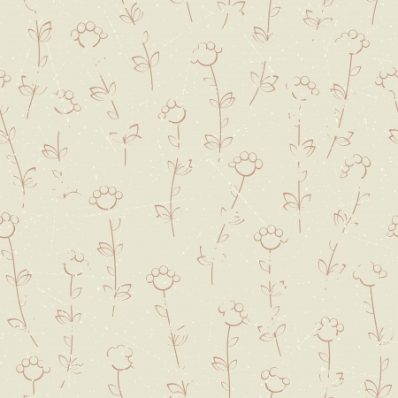 Seamless pattern of grunge flowers   Vector
