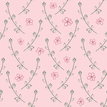 Pink seamless pattern of hands draw flowers  illustration