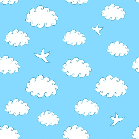 Seamless pattern of vintage clouds and birds  Vector