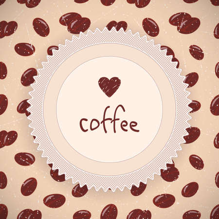 Coffee beans background in retro style  Vector