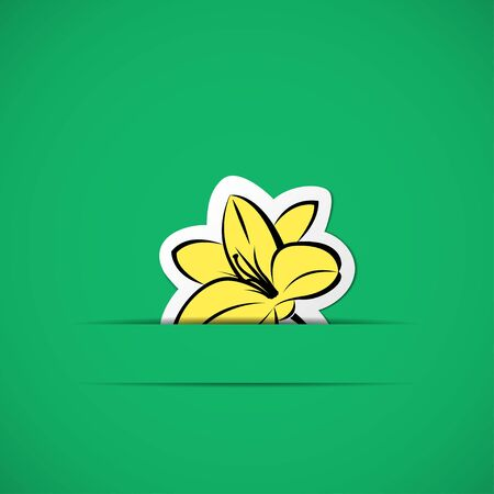 slit: Green card with yellow flower in paper slit
