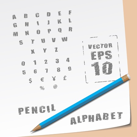 Hands draw alphabet and lead pencil Vector