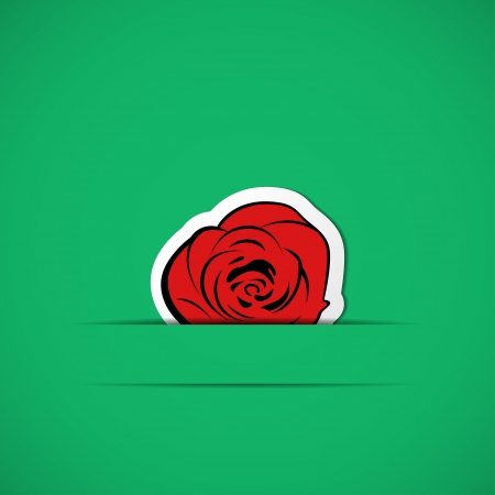 Green card with red rose in paper slit Vector
