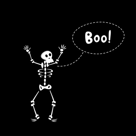 scare: Black halloween card of funny cartoon skeleton Illustration