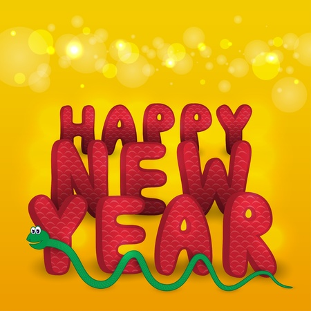 New Year s greeting card with cute cartoon snake  Vector