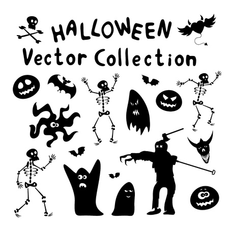 Collection of halloween silhouettes Vector
