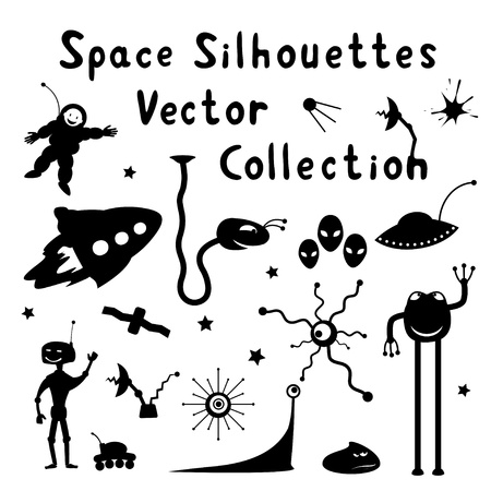 Collection of space silhouettes Stock Vector - 15430566