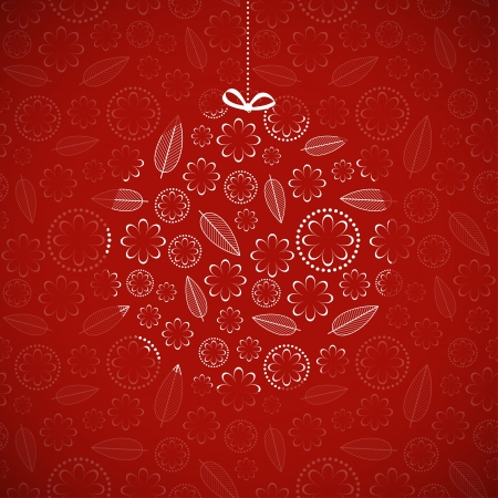 bauble: Card with ornamental Christmas ball  Vector illustration