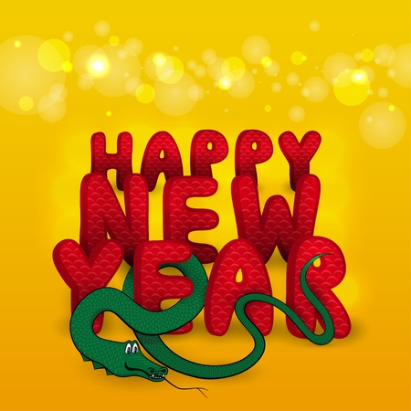 New Year s greeting card with cartoon snake  Vector