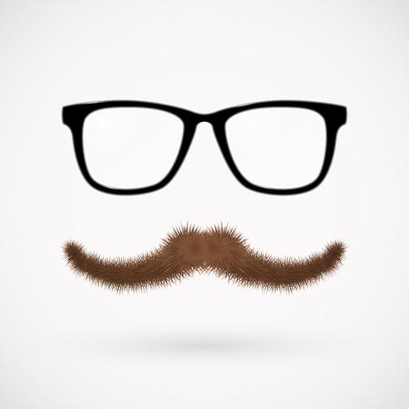occhiali da vista: Hipster occhiali e baffi Vettoriali