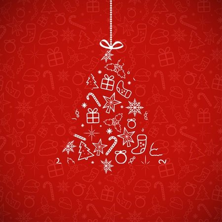Red card with Christmas symbols  Vector