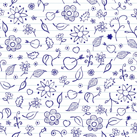 Hands drawn notebook doodles  Vector Valentine s Day Seamless Pattern