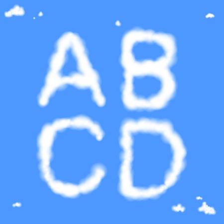 the inscription: Vector white cloudy alphabet. Letters A, B, C, D.
