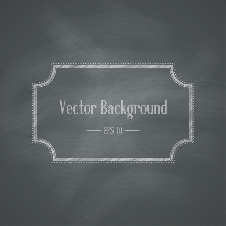 Chalkboard Retro Background with Frame  Vector illustration  イラスト・ベクター素材