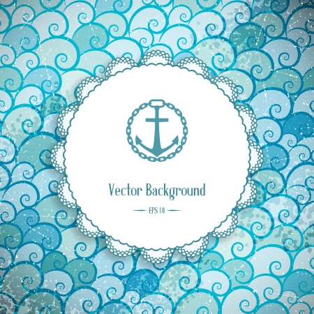 cruise ship: Retro background with sea waves and frame  Vector illustration