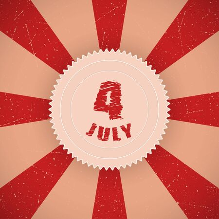 Retro background with Fourth of July badge  Vector illustration Vector
