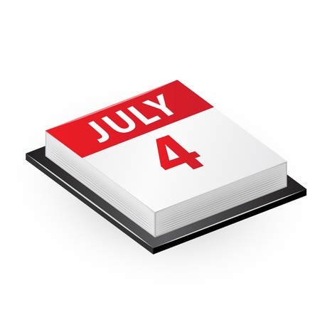 july calendar: Four July calendar  Independence Day  Vector icon