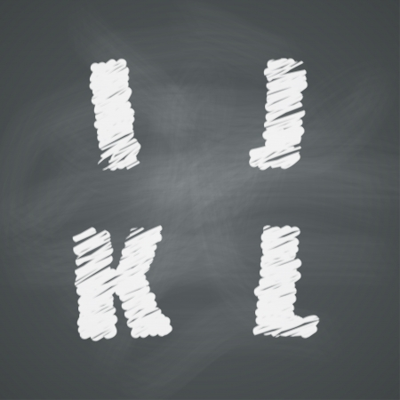 Alphabet on chalkboard  Letters I, J, K, L Çizim