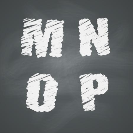 basic letters: Alphabet on chalkboard  Letters M, N, O, P Illustration