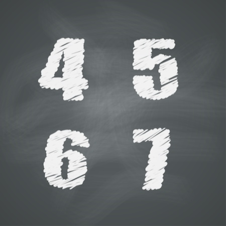 Numbers on chalkboard  four, five, six, seven Vector