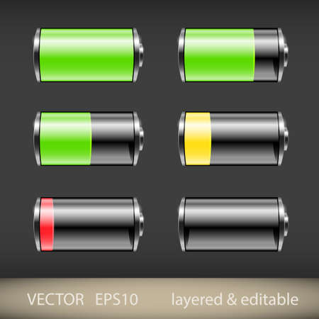 Glossy battery icons set illustration Stock Vector - 20920628