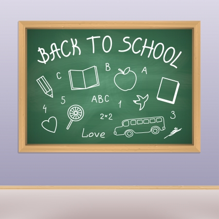 Back to school chalkboard with doodles  Vector illustration Vector